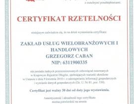 certyfikat G0005